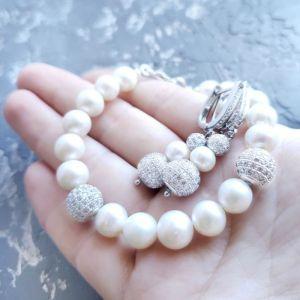 Комплекти Комплект з великих натуральних перлів браслет та сережки