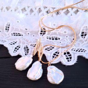 Гармаш Елена Свадебный или праздничный комплект из жемчуга Кейши в позолоте