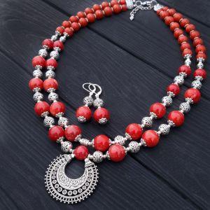 Комплекты Комплект из коралла цвета красного кирпича колье и серьги