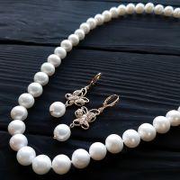 Комплект из натурального жемчуга в позолоте ожерелье серьги
