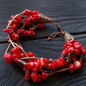 Браслет з червоного коралу Браслет з натуральних коралів п'ятирядний