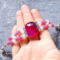 """Браслет з натуральних агатів та кристалів """"Рожева мрія"""""""