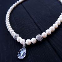 Кольє з натуральних великих перлів та кристалів циркону