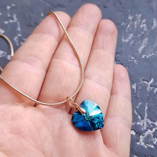 Кулон на ланцюжку з кристалом Swarovski серце у позолоті