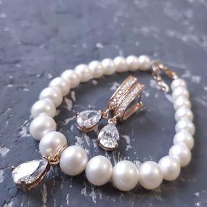 Гармаш Олена Комплект з натуральних перлів з кристалами у позолоті
