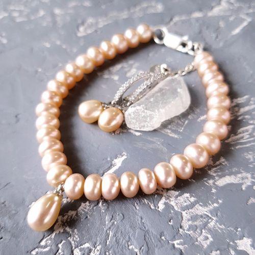 Комплект из натурального жемчуга браслет и серьги