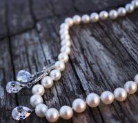 Натуральні перли комплект кольє і сережки