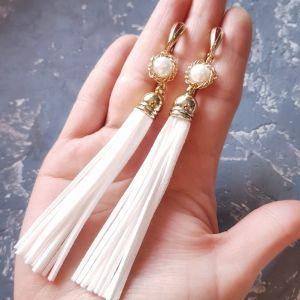 Серьги ручной работы Серьги кисти с натуральными белыми жемчужинами