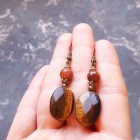 Сережки з натуральним каменем тигряче око та авантюрином
