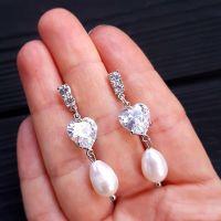 Сережки з натуральними перлами та кристалами у формі серця