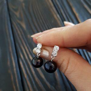 Cережки з чорними перлами Сережки натуральні перли, медична сталь та циркони