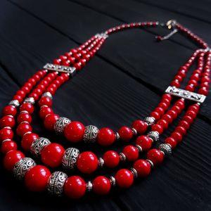 """Ожерелье из коралла Ожерелье трехрядное коралловое """"Напевы"""""""
