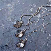 Комплект с кристаллами Swarovski  сердце в серебре