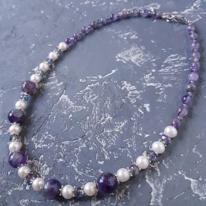Намисто з перлами  Намисто з натуральних перлів та аметисту