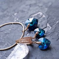 Комплект с кристаллами Swarovski  сердце в позолоте