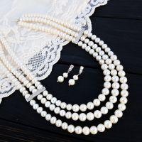 Трьохрядне кольє з перлів та кристалів