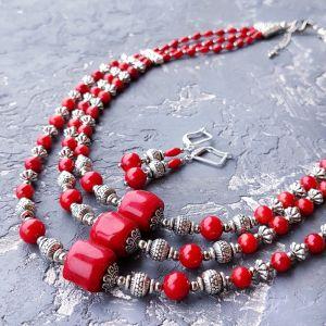 Jewelry sets Комплект з натуральних коралів намисто і сережки зі срібними застібками