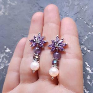 Фіолетові сережки Сережки з натуральними перлами та аметистом