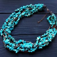 Ожерелье с голубой бирюзы семирядне пышное