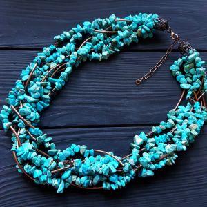 Ожерелье из бирюзы Ожерелье с голубой бирюзы семирядне пышное