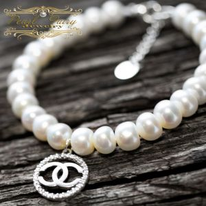 Браслети ручної роботи Браслет натуральні перли та срібло 925 з цирконами