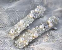 Заколка з натуральними перлами і кристалами