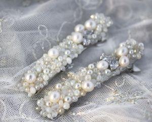 Заколки ручної роботи Заколка з натуральними перлами і кристалами