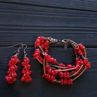 Комплект из натуральных кораллов браслет и серьги