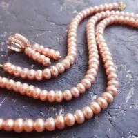 Комплект з натуральних перлів у позолоті