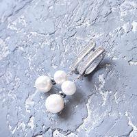 Серьги с натуральным жемчугом, гематитом и кристаллами