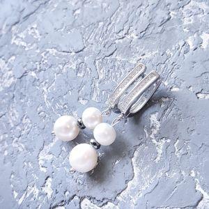 Гармаш Елена Серьги с натуральным жемчугом, гематитом и кристаллами