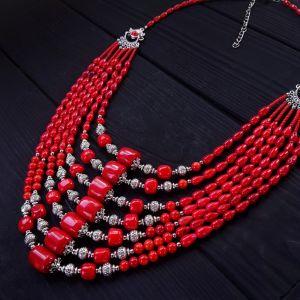 Ожерелье семирядное из натурального коралла