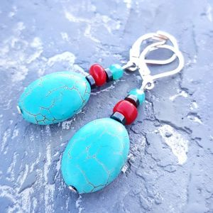 Блакитні сережки Сережки з бірюзи з коралами гематитом та срібними застібками