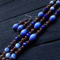 Комплект браслет и серьги с камнями и кристаллами