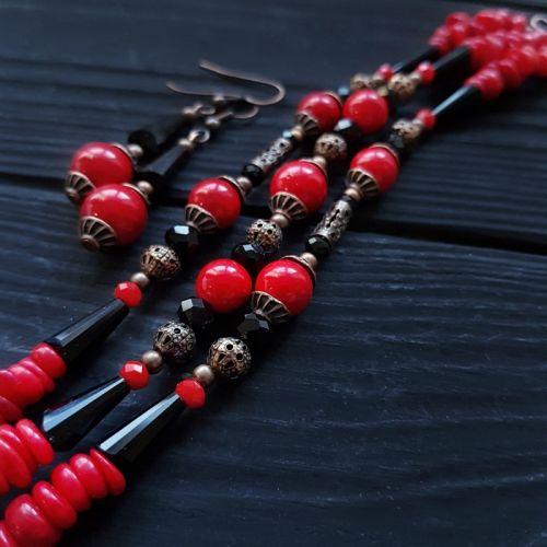 Комплект украшений браслет и серьги с натуральным кораллом
