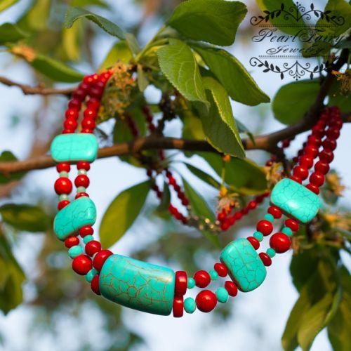 Ожерелье из кораллов и бирюзы лето