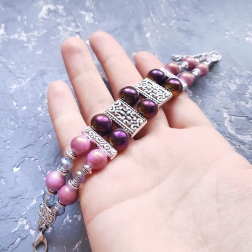 Браслет дворядний у бузково-рожевій палітрі  - зображення 1
