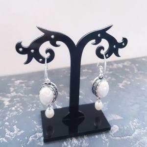 Earrings Сережки з натуральними перлами та Майоркою срібні застібки