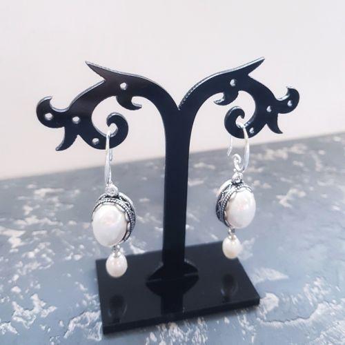 Сережки с натуральным жемчугом и Майоркой серебро застежки - изображение 1