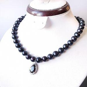 Ожерелья и колье ручной работы Натуральный черный жемчуг роскошное колье с подвеской
