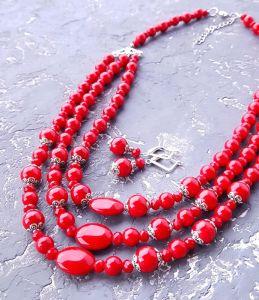 """Jewelry Комплект намисто та сережки """"Заграй!"""" з коралами та кристалами"""