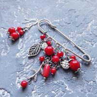 Комплект брошка та сережки зі срібними застібками коралові