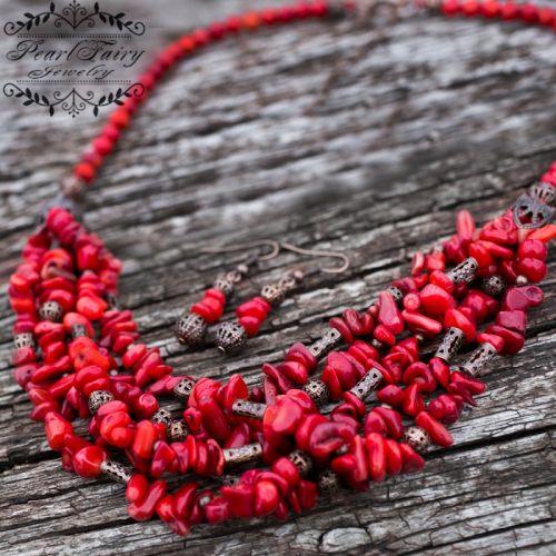 Комплект украшений из натуральных кораллов ожерелье серьги