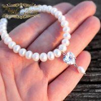 Браслет з натуральних перлів з підвіскою серце циркон