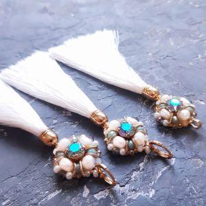 Прикраси ручної роботи Позолочений комплект з кристалами Swarovski та натуральними перлами