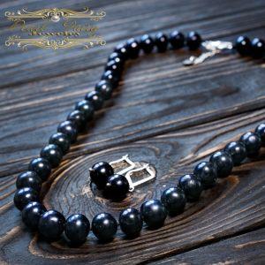 Ожерелье из крупных натурального жемчуга и серебра 925