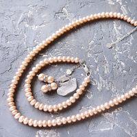 Комплект из натурального жемчуга колье браслет и серьги