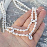 Кольє з натуральних перлів з кристалами циркону дворядне