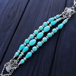 Блакитний браслет Браслет з бірюзи та кристалів з короною
