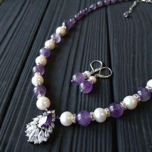 Комплект з натуральних перлів та аметистів